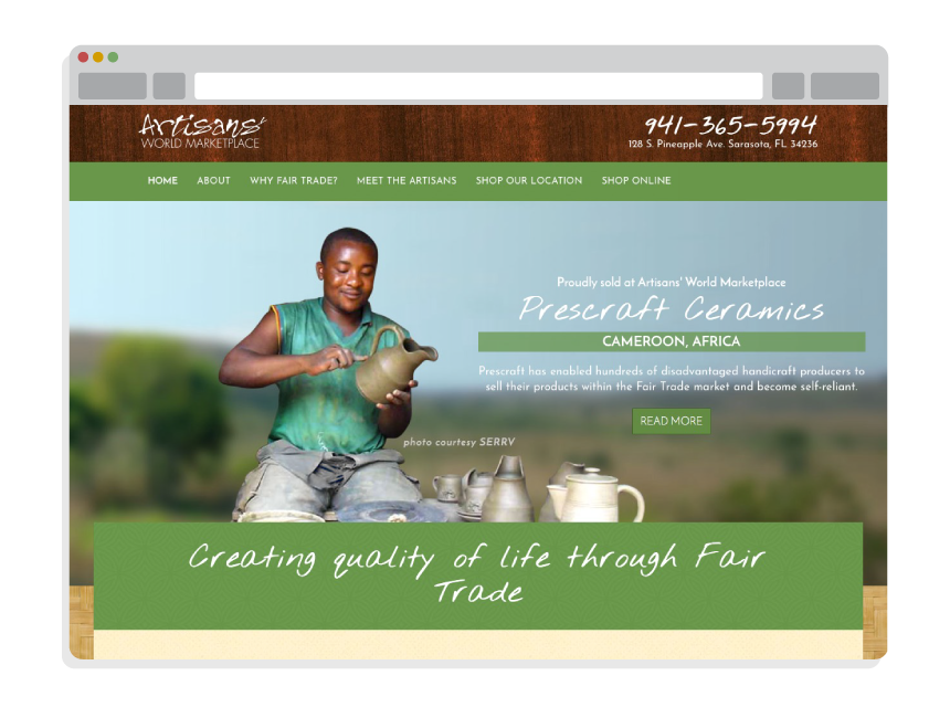 nonprofit website design for Artisans' World Marketplace