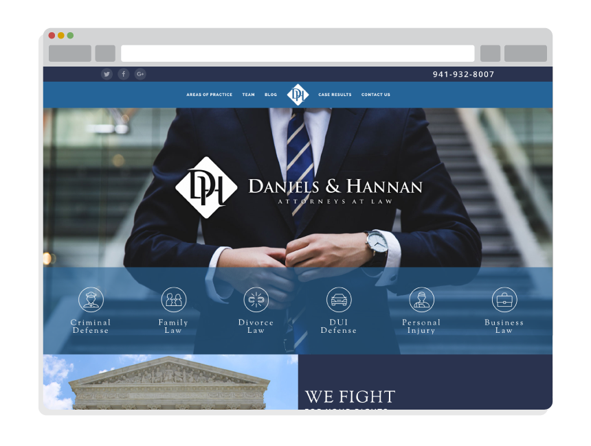 affordable web design for small business for Daniels & Hannan Attorneys at Law