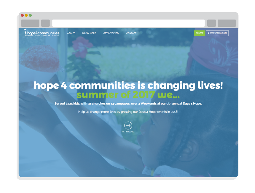 nonprofit website design for Hope Kids Community
