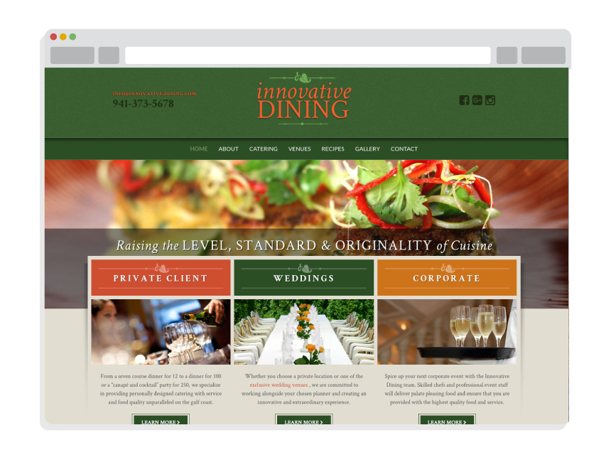 Innovative Dining Sarasota Website Design By Notion Design Group