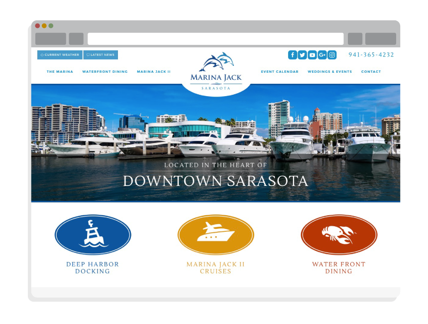 marina website design for Marina Jack Sarasota