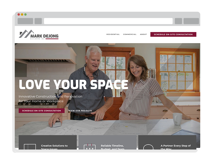websites for small businesses for Mark DeJong Builders
