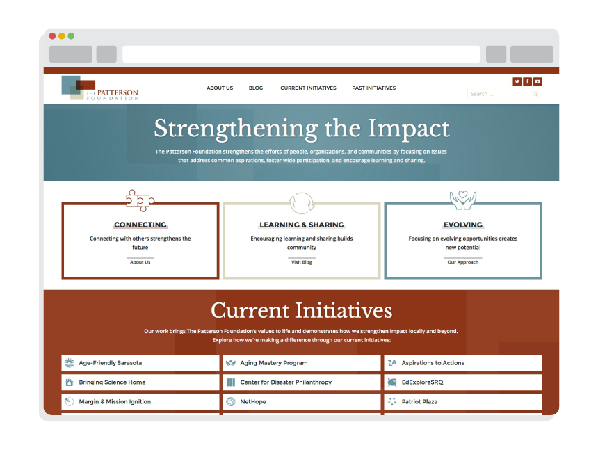 nonprofit website design for The Patterson Foundation