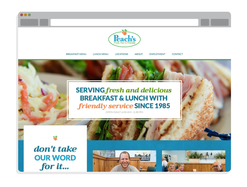 restaurant website design for Peach's